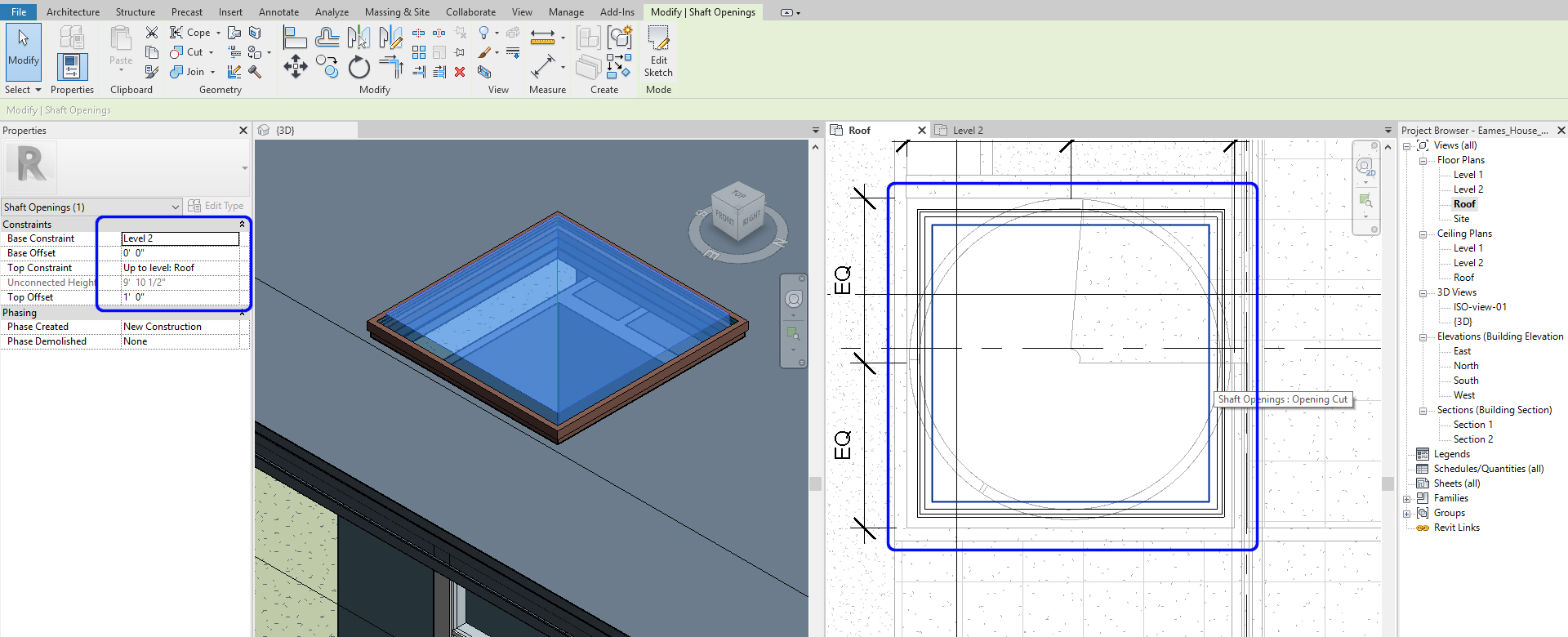 It shows the resulting image after using the shaft tool for a skylight.
