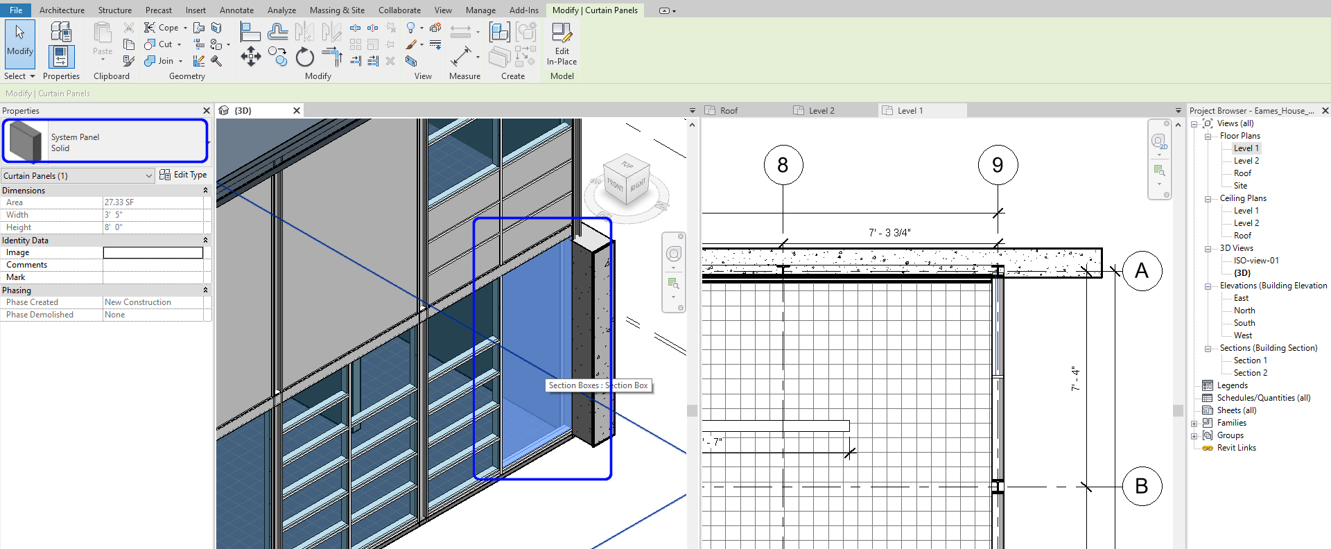 It indicates how to select a door panel on the curtain wall.