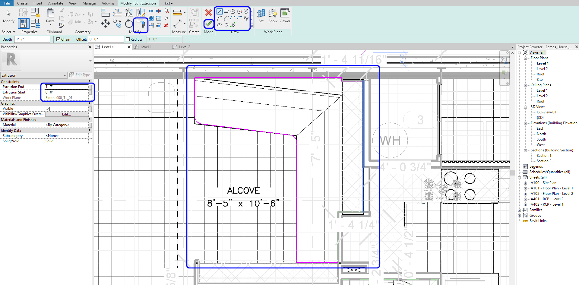 It indicates what to draw lines for the component-model in-place.
