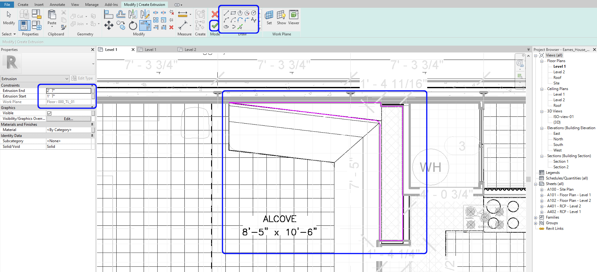 It indicates how to draw lines for the component-model in-place.