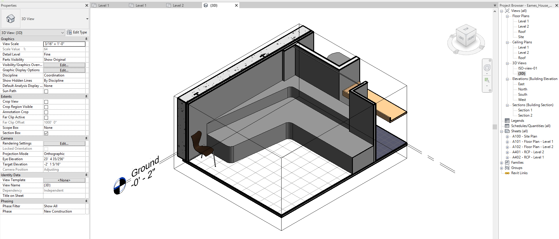 It shows the resulting image after creating the custom alcove seating.