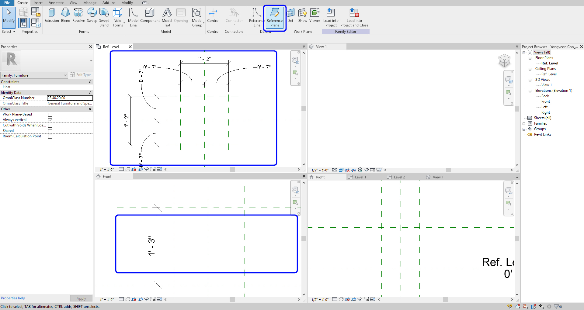 It indicates how to create reference planes with dimensions.