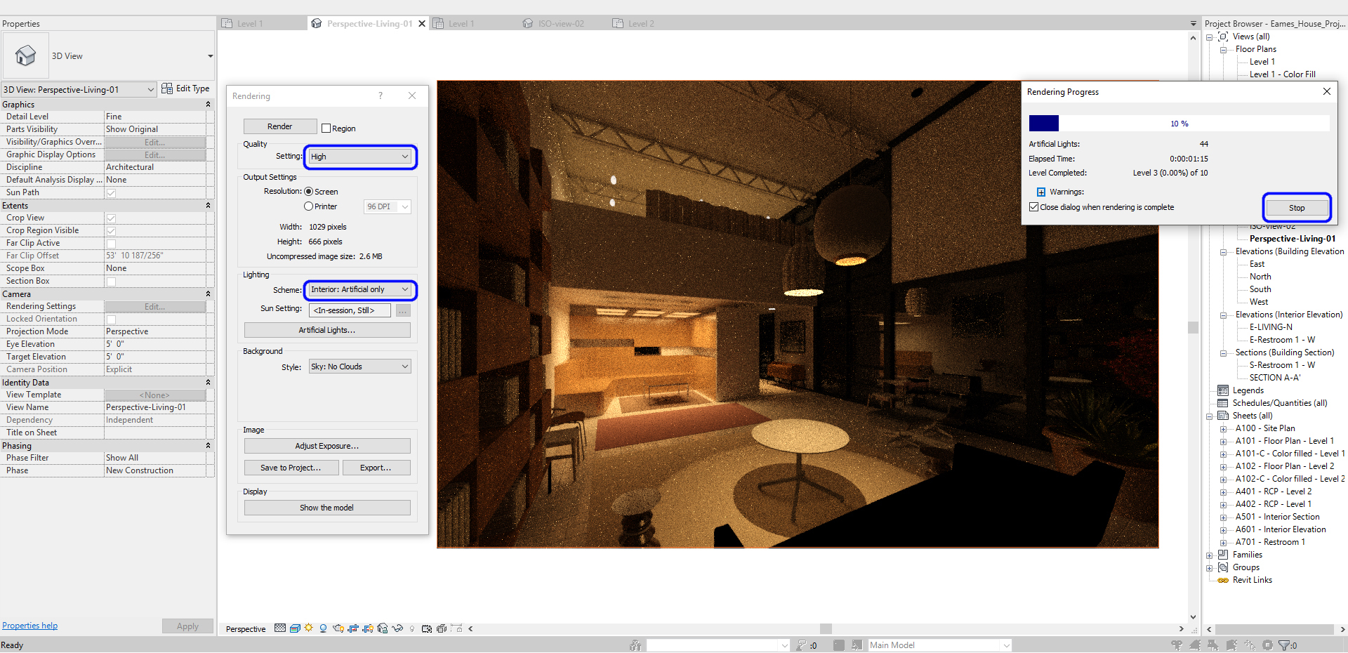 It indicates how to set a test render for artificial lighting.