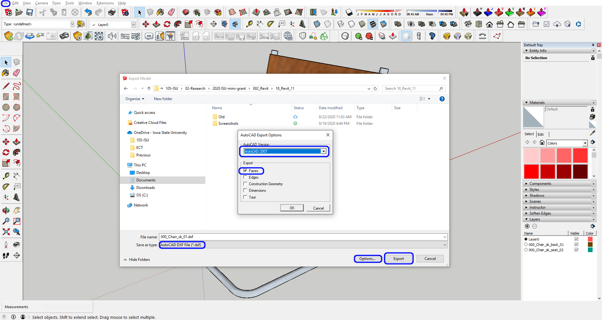 It indicates how to export the file to a dxf file format.