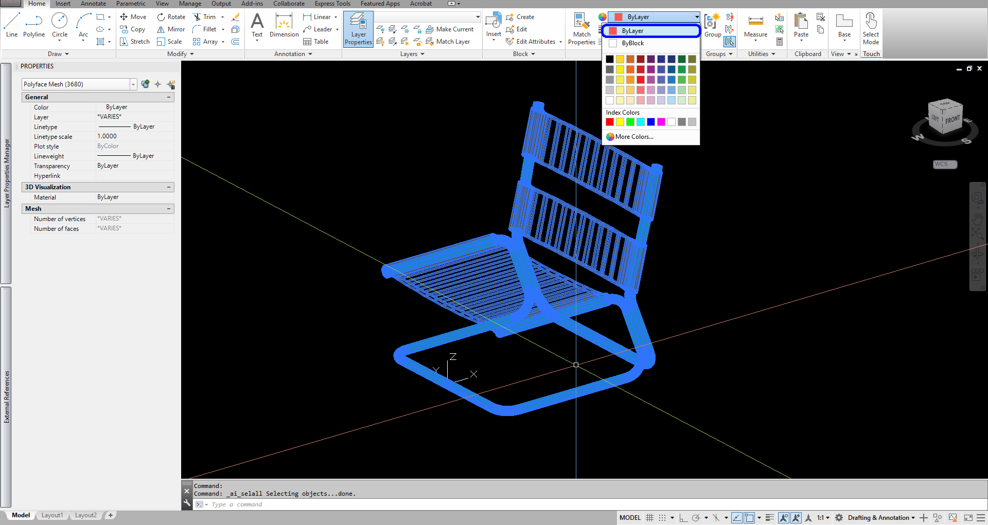 It indicates how to change cad model color by layer.