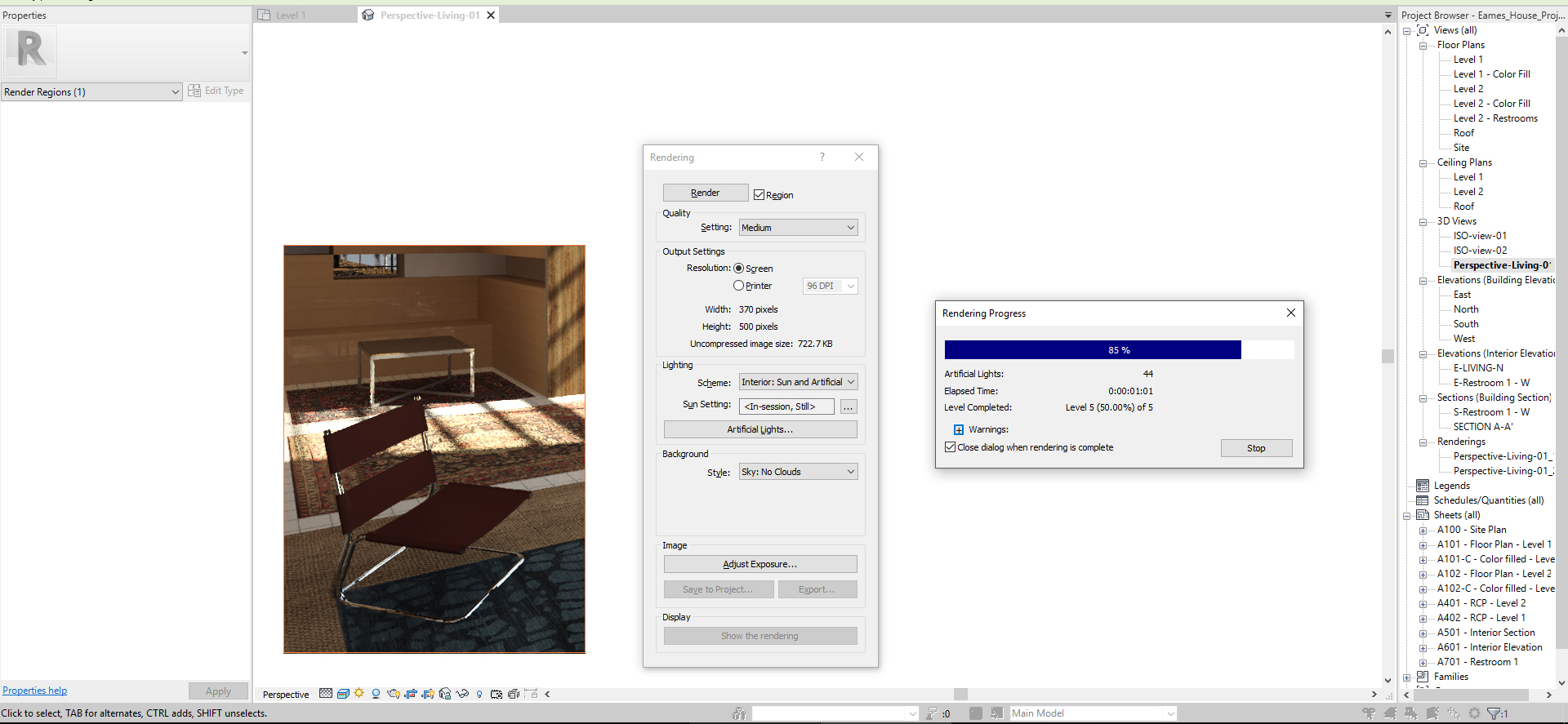 It shows the processing of region render.
