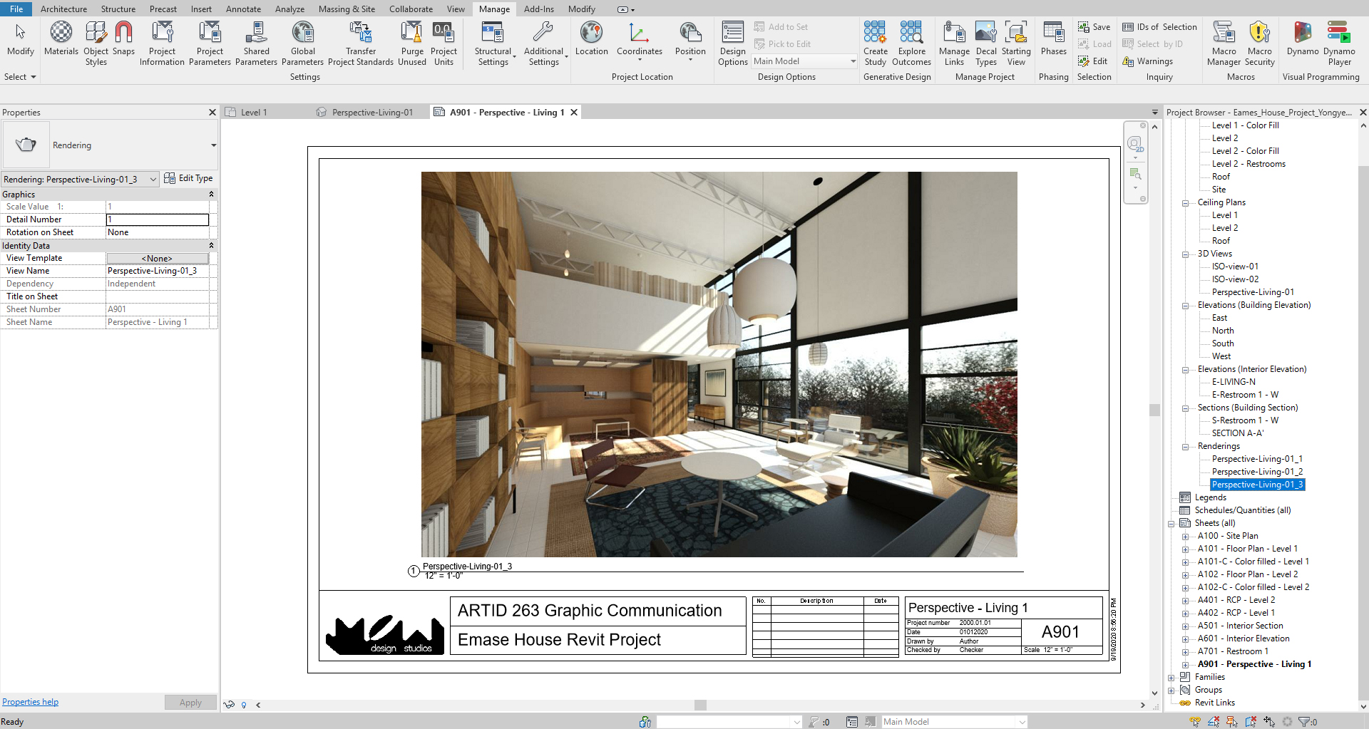 It shows the resulting image after adding the rendering in a sheet.