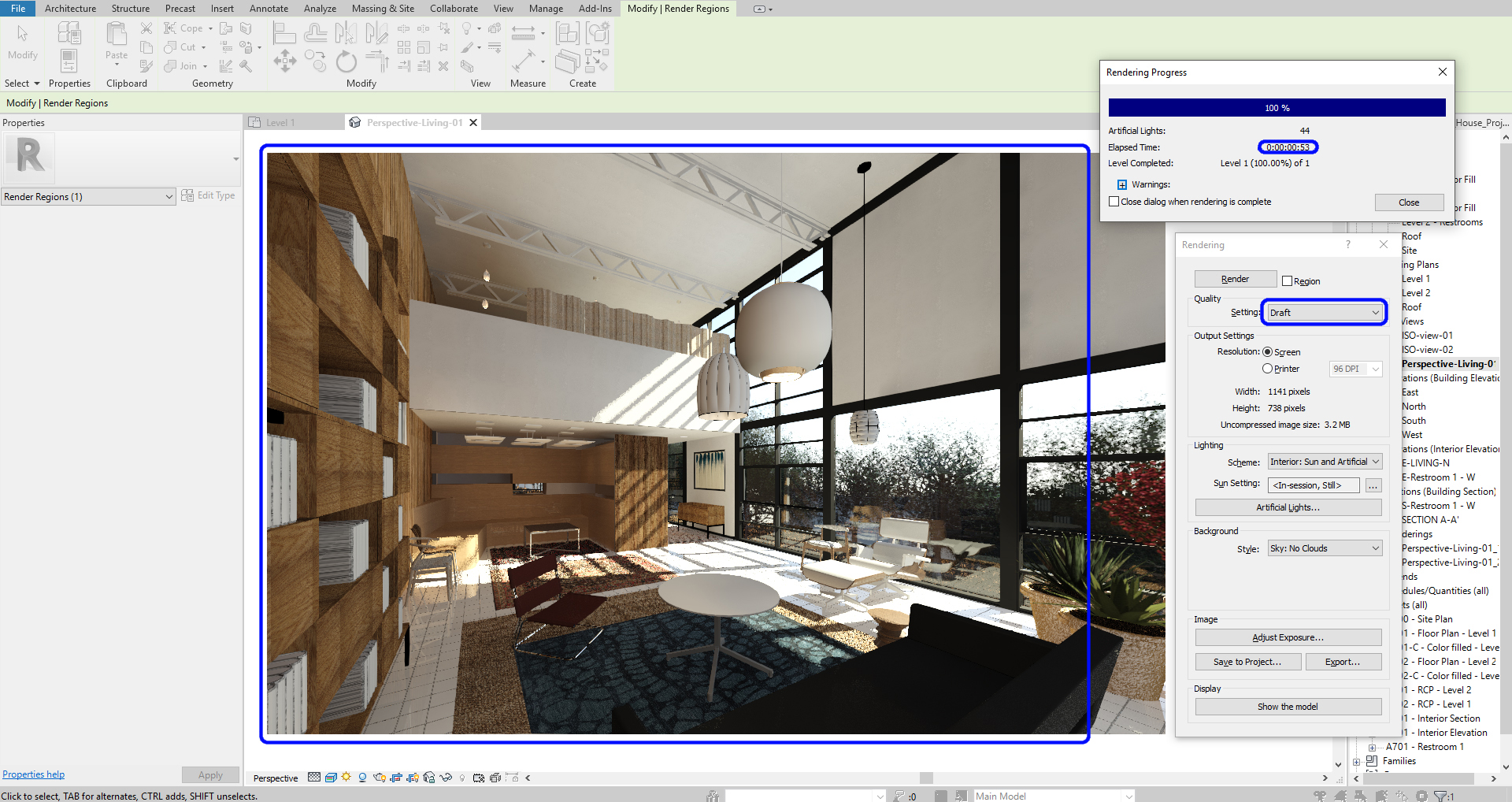 It presents the draft render quality.