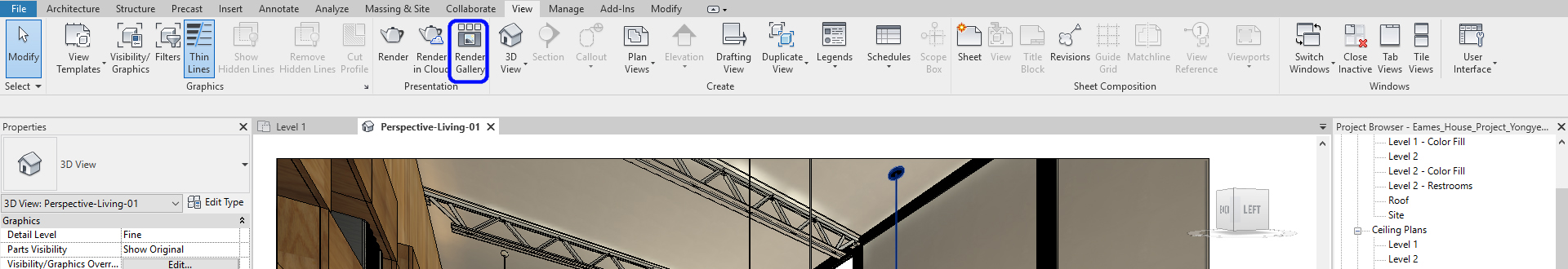 It indicates how to open the Cloud Render Gallery.