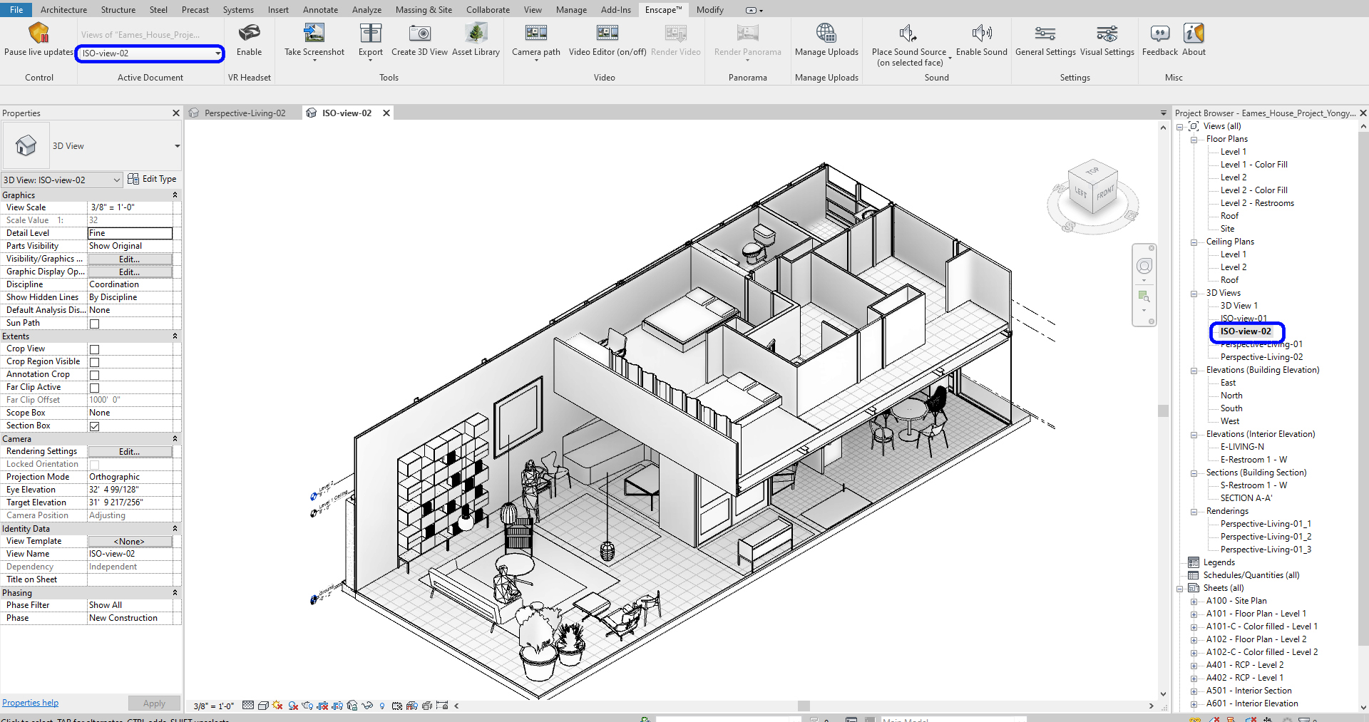 It presents the ISO-view in Revit.
