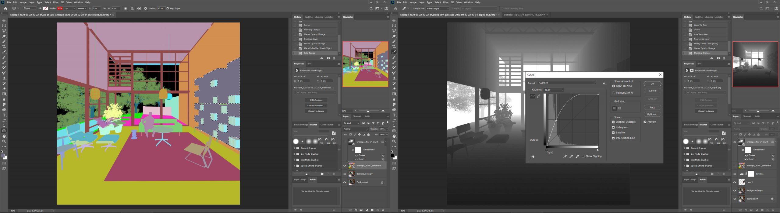 It indicates how to use material ID map and Depth map in photoshop for post-production.