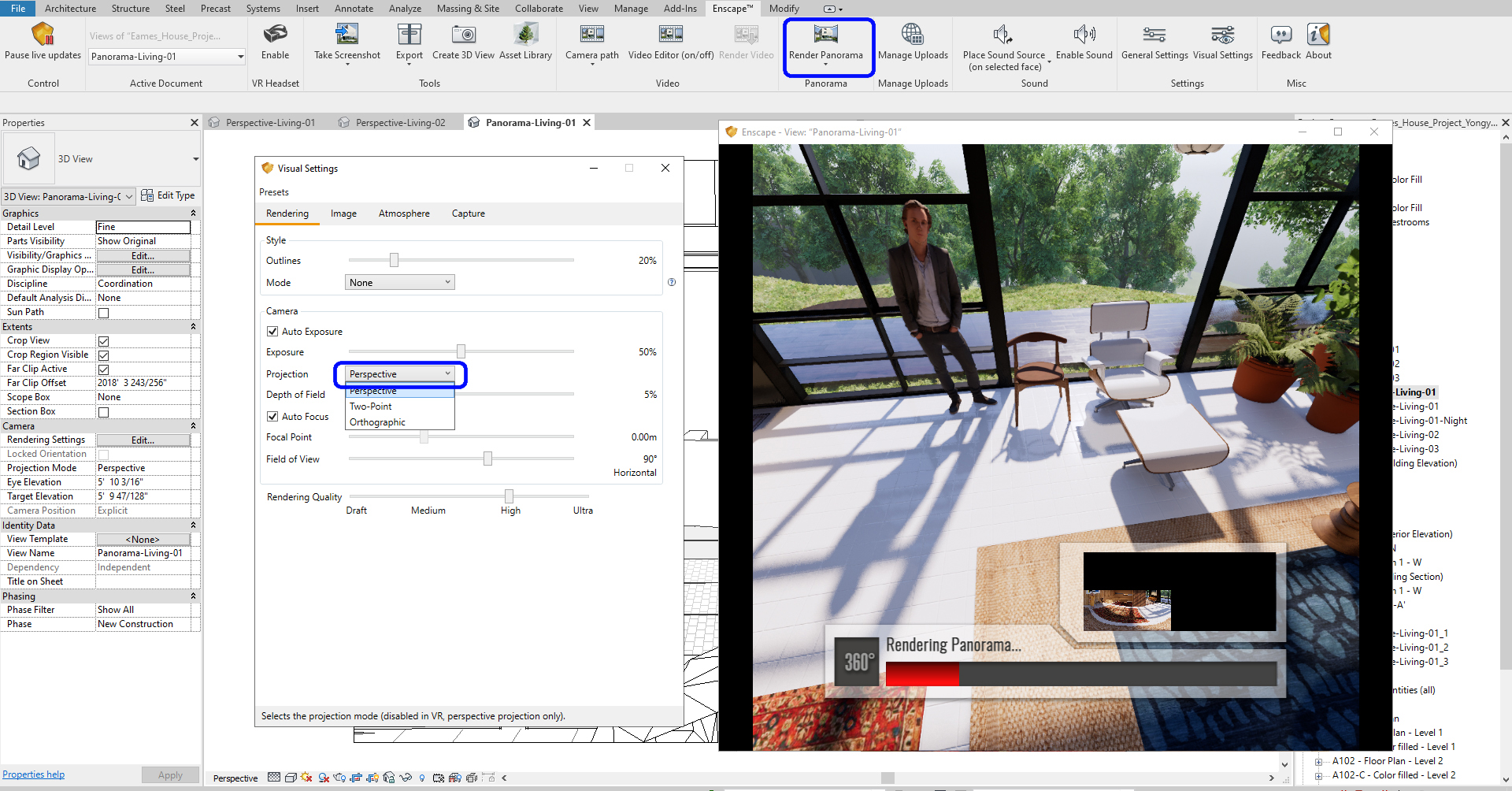 It indicates how to set for a rendered panorama view.