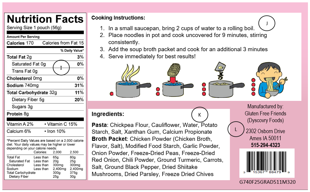 Information Panel example including the Nutrition Facts Panel, Ingredient Statement, Cooking Instructions, Manufacturer Contact Information, Bar code and Lot Code/Tracking Code